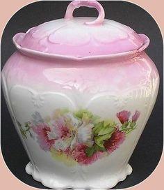 Vintage Biscuit Vanity Jar Victorian Floral Covered