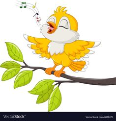 Illustration about Illustration of Cute yellow bird singing on white background. Illustration of birdsong, sing, communication - 63666337 Art Drawings For Kids, Bird Drawings, Cartoon Drawings, Animal Drawings, Cute Drawings, Vogel Clipart, Bird Clipart, Cartoon Birds, Cute Birds