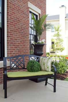 bench outside of front entry