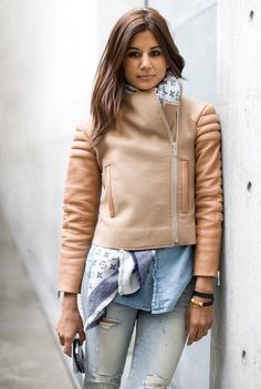 Christine Centenera in a Celine jacket. I love the colors of the look and the scarf under the jacket...