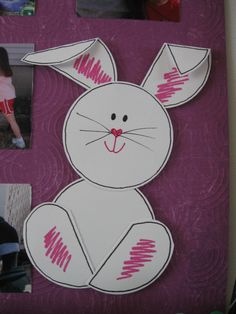 Easter Bunny make-n-take idea from my March Crop created using Creative Memories NEW Shape Maker System. Punch 4 circles, cut 2 in 1/2, fold down pieces on ears, corner round top of feet, doodle, & adhere w/ Tape Runner.