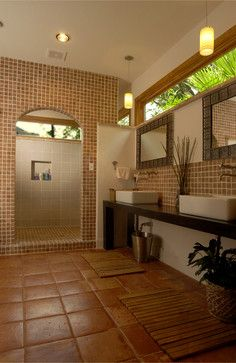 Tropical Home bathroom teak cement Design Ideas, Pictures, Remodel and Decor