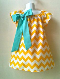 Girls Dress Riley Blake Chevron Yellow Peasant Dress Sizes 6 mo. and 5  Choice of Bow Colors by 8th Day Studio. COUPON CODE. $32.00, via Etsy.