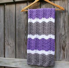 Crochet Baby Afghan in Lavender Purple, Grey, White Baby Blanket