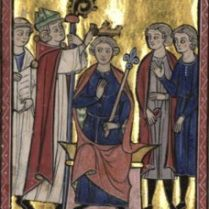 Coronation of Fulk of Jerusalem (c. 1089-92/1143). Son of Fulk IV of Anjou and Bertade de Montfort. Husband to Ermengarde of Maine and Melisende of Jerusalem