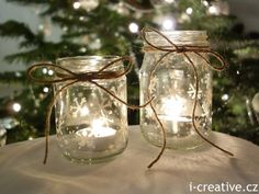 Christmas lanterns - simple & pretty jars, painted with permanent varnish marker & tied with twine - from i-creative. Christmas Jam, Christmas Lanterns, Christmas 2015, Christmas Crafts, Christmas Decorations, Bottles And Jars, Glass Jars, Jam Jar, Diy Crafts To Sell