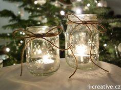 Lantern of a jam jar for tealight / Lucerny se sněhovými vločkami ze sklenic od marmelády.