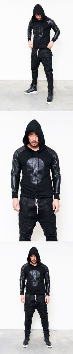 Tops :: Designer Leather Skull Patch Pullover-Hoodie 80 - Mens Fashion Clothing For An Attractive Guy Look
