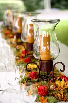 Fall Wedding Table Centerpieces with Lanterns - Bing Images Fall Table, Thanksgiving Table, Thanksgiving Decorations, Thanksgiving Wedding, Wedding Table Decorations, Decoration Table, Wedding Centerpieces, Lantern Centerpieces, Candle Lanterns