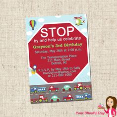 PRINTABLE Transportation Party Invitations by yourblissfulday