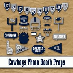 Cowboys Football Photo Booth Props and Party Decorations - Printable - Over 40 Images in PDF Format - Printable Digital File Cowboy Party, Cowboy Birthday Party, Football Birthday, 40 Birthday, Daddy Birthday, Birthday Ideas, Birthday Cards, Dallas Cowboys Football, Oakland Raiders Football