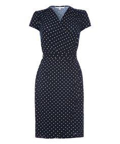 Love this Navy Spot Wrap Dress on #zulily! #zulilyfinds