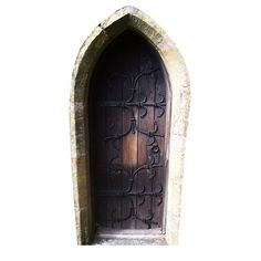 """Fairy door wall decal, 3.5"""" x 7"""" -- to scatter throughout the house near baseboards and cabinets and shelves. Via WilsonGraphics on Etsy."""