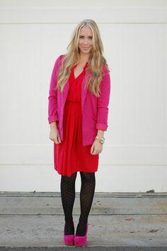 Red dress, pink jacket, polka dot tights