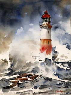 """Saatchi Art is pleased to offer the Art Print, """"Lighthouse,"""" by barnaba salvador. Art prints are available from $40 USD. Archival inks on Fine Art Paper, Canvas. Size is 12 H x 9 W in. Watercolor Architecture, Watercolor Landscape Paintings, Art Paintings, Portrait Paintings, Acrylic Paintings, Landscape Artwork, Watercolor Artists, Indian Paintings, Landscape Design"""