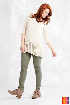 f611b983be8e90 Indigo Thread Co.™ Knit   Woven 3 4 Sleeve Partially Lined Hi-Lo Sweater on  sale at evine.com