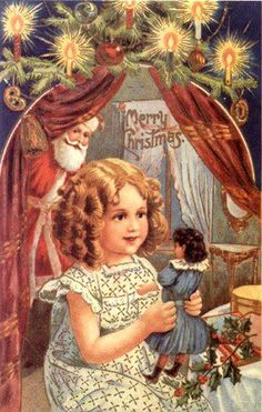 Santa peeks at a little girl discovering the doll he left her in this vintage Christmas card scene.