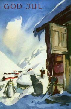 Julekort Gunnar Bratlie Utg Aune brukt 1950-tallet