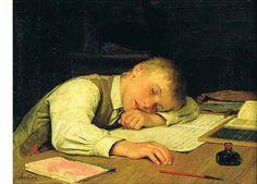 Albert Anker - Knabe über dem Schulheft eingeschlafen