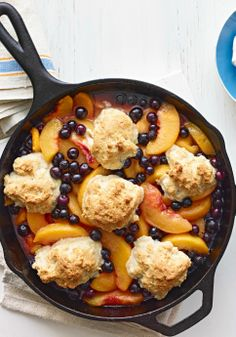Cast-Iron Peach Cobbler — Hot, bubbly and covered with a golden-brown biscuit topping, this fresh peach cobbler is made the old-fashioned way: in a cast-iron skillet.