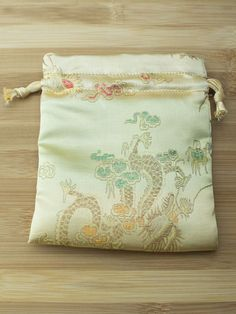 Premium Mala Bag - Gold Dragons & Peacocks Brocade