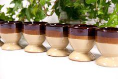 Egg cups set of 6, egg holders, brown egg cups, vintage egg cups, ceramic egg cups, 1970 egg cups set, old egg cups, european egg cups by VintageEuropeDesign on Etsy