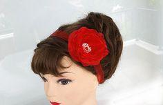 Red Flower headband Wedding Headband Bridal Sash or