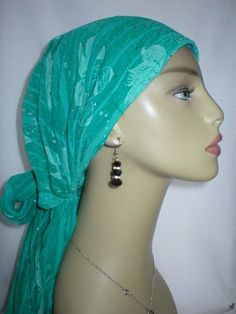 SP0062 EMERALD FLORAL JERSEY CAP CHEMO SCARF
