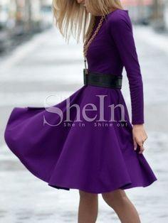 Vestido manga larga plisado-(Sheinside)                              …
