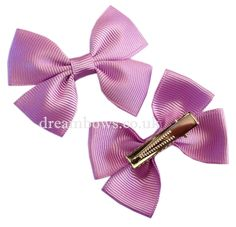 Lilac grosgrain ribbon hair bows on snap clips - www.dreambows.co.uk lilac hairbows, shop for lilacbows, girls bows, hair accessories