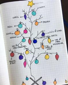 Bullet Journal Christmas gift list tracker or mood tracker Bullet Journal Tracker, Bullet Journal Junkies, Bullet Journal Layout, Bullet Journal Inspiration, Bullet Journals, Journal Ideas, Christmas Gift List, Christmas Cards, Merry Christmas