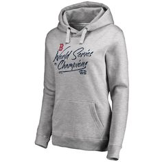 21204a568fa Women s Boston Red Sox Majestic Heather Gray 2018 World Series Champions  Signal Pullover Hoodie