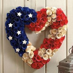 "Amazon.com - 13"" Country Patriotic Americana Heart Shape Wooden Rose Wreath Decoration -"