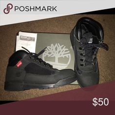 Timberland Boots for sale Boys size 7.5 Timberland black boots... They're slightly used but like new and still have receipt. Timberland Shoes Winter & Rain Boots