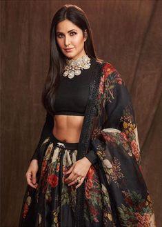 Bollywood fashion 740631101201424901 - Katrina Kaif looks gorgeous in a black red floral Sabyasachi lehenga. Source by Ferihamaryam Katrina Kaif, Indian Wedding Outfits, Indian Outfits, Indian Clothes, Indian Attire, Indian Wear, Saris, Black Lehenga, Lehenga Designs