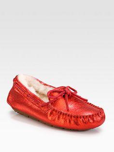 UGG Australia - Dakota Textured Metallic Suede Lace-Up Slippers - Saks.com
