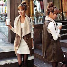 Fashion Long Women's Winter Faux Fur Vest Cream Outerwear Gilet Waistcoat Jacket