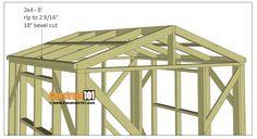 Greenhouse plans, 8'x8', 2x4 roof side trim.