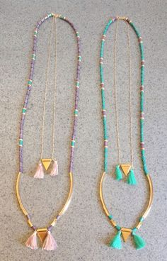 Necklace with wooden beads, tubes & triangles #ss15