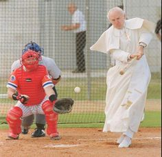 Pope John Paul II is playing baseball. Your argument is invalid.