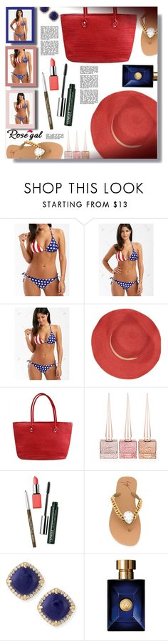 """""""American Flag Bikini Set - ROSEGAL Contest!"""" by sarahguo ❤ liked on Polyvore featuring Bleu Comme Gris, Christian Louboutin, Clinique, Giuseppe Zanotti, Frederic Sage and Versace"""