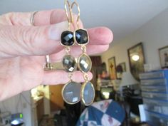 Vintage Deco 14KT Gold/925 Sterling Silver 23.54ctw  Genuine Onyx, Pyrite &  Chalcedony Dangle  Earrings, Weight 7.6 Grams, 2-1/4 IN Long by TamisVintageShop on Etsy