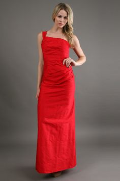 The Dupioni One Shoulder Dress in Red by Phoebe Couture at CoutureCandy.com