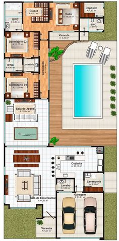 Pinterest: @claudiagabg  Casa 3 cuartos 1 estudio abierto piscina: