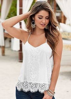 Gorgeous lace top to make you feel like the goddess you are! Venus scalloped lace top.