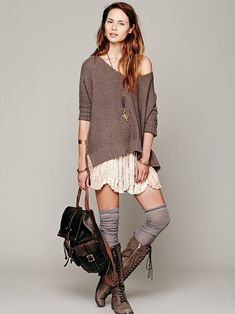 Free People FP ONE Third Charm Mini at Free People Clothing Boutique - boots, knee-highs, skirt, brown pullover sweater, and leather backpack purse. by proteamundi Look Fashion, Autumn Fashion, Fashion Outfits, Womens Fashion, Teen Fashion, Looks Chic, Looks Style, Fall Outfits, Casual Outfits