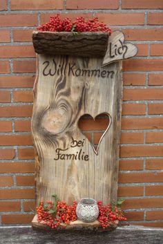 Türschild ♥lich Willkommen bei Familie.... von Holz- Kreativ auf DaWanda.com