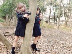 mim mam twins みむ まむ 双子モデル ツインテールと機関銃 日本ツインテール協会 セーラー服