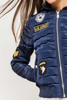 Dámska modrá bomber bunda s nášivkami Motorcycle Jacket, Bomber Jacket, Jackets, Fashion, Down Jackets, Moda, La Mode, Moto Jacket, Bomber Jackets