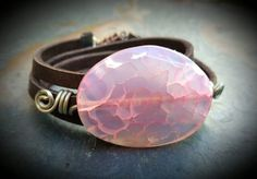 Rose quartz and #leatherwrapbracelet makes a unique #giftsforvalentinesday  https://www.etsy.com/listing/219714487/pretty-is-pink-rose-quartz-triple